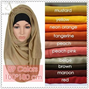 Wholesale cotton viscose plain scarves resale online - mixed solid plain hijab scarf fashion wraps foulard viscose cotton maxi shawls soft long islamic muslim scarves hijabs