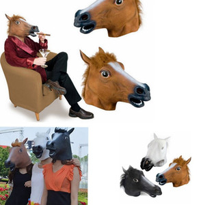 Wholesale horse face mask resale online - Cosplay Halloween Horse Head Mask animal Party Costume Prop Toys Novel Full Face Head Mask KKA8024