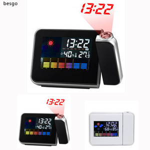 Time Watch Projector Clock Multi Function Digital Alarm Clocks Color Screen Desktop Clock Display Weather Calendar Time Projector BH2661 DBC