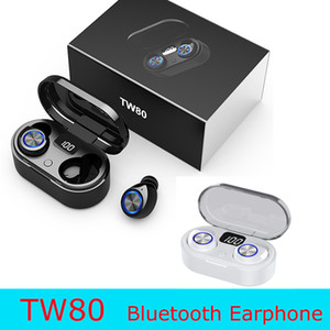 Wholesale earphone mic white for sale - Group buy Newst Black And White TW80 TWS Portable Wireless Blutooth earphone High Quality Large Capacity Steroe Earbuds With Mic LED Display