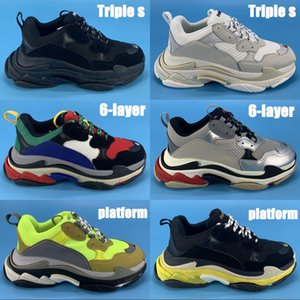 2020 new Triple s 6-layer combination sole platform casual dad shoes silver red multi-color triple black white mens sneakers womens trainers