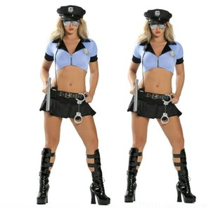 Wholesale policewoman uniforms for sale - Group buy 2Q7Zk New split clothes bar sexy clothes costume policewoman flower police stage stage blue Bar nightclub game uniform