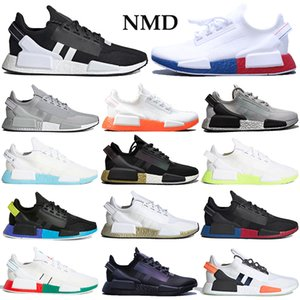 con oro al por mayor-2020 NMD R1 V2 runners Shoes Men Women primeknit Running Sneakers black white blue orange mexico city metallic gold Trainers with box