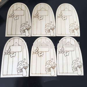 Wholesale children gates resale online - Wooden Fariy Door Ornaments Carving Small Gate Mushroom Butterfly Depicted Craft Doors Decoration Diy Wood Hut Gift Kids Child xp C2