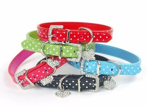 Wholesale polka dog collar resale online - Lovely Small Pets Dog Cat Collar Polka Dot Pattern Dog Collar leather with Heart Crystal Pendant pet products Collar Polka Dot Pattern