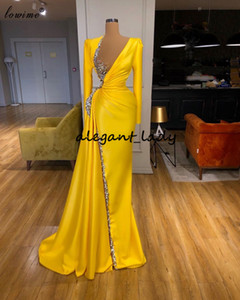 Wholesale 2 piece prom dresses for sale - Group buy Long Sleeve Evening Pageant Dresses Real Image Sparkly Crystal Beaded V neck Mermaid Full length Prom Gowns Vestidos