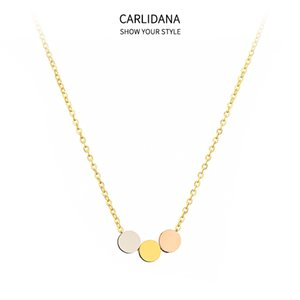 Wholesale small round pendant necklace for sale - Group buy CARLIDANA Tricolor Round Pendant Necklace Titanium Steel Gold plated ins Fashion Version Small Circle Clavicle Chain Female