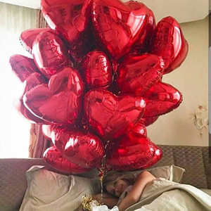 Wholesale birthday decorations for sale - Group buy 50pcs inch Heart Foil Balloons Wedding Birthday Valentine s Day Party Heart Love Helium Balaos Decoration Baby Shower Gifts