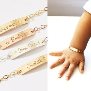 Wholesale customized stainless bracelets resale online - Baby Jewelry Rose Gold Charm Child ID Custom Name Bracelets Birthday Gift Stainless Steel Chain Customized Nameplate