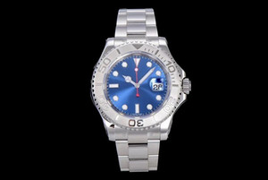 Light blue dial sapphire mirror 40mm men's automatic mechanical watch casual fashion sport stainless steel watchband folding buckle
