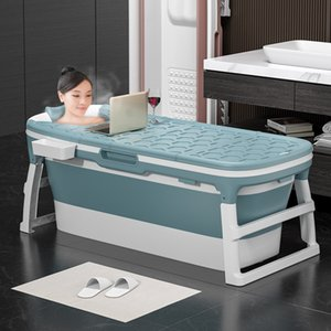 Portable 1.38m Large Bathtub Adult Folding Tub Massage Adult Bath Barrel Steaming Dual-use Baby Tub Home Spa Home Sauna