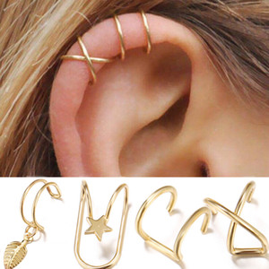 Wholesale gold star ear cuff resale online - Star Leaf Clip on earrings C shape Silver gold leaves dangle Hoop earrings fashion women ear cuff fashion jewelry will and sandy gift