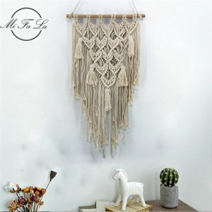 Wholesale dorm decor resale online - Macrame Wall Art Hand made Dyed Cotton Wall Hanging Tapestry Bohemia Tassel Boho Home Decor Living Dorm Room Decoration