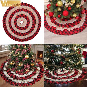 Wholesale tree skirts for sale - Group buy 48 INCH High Quality Christmas Tree Skirt Xmas Tree Decoration Ruffled Double Layer Trim Christmas Decor Red Black Plaid