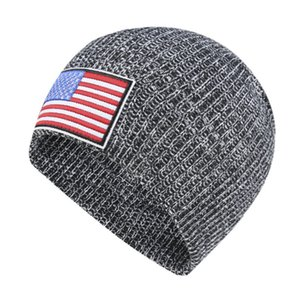 Wholesale ear muffs for adults resale online - With US Flag Label Knit Hat Winter Warm Beanies Adults Knitted Skull Beanie Cap Outdoor Hats Headgear Ear Muff For Men Women New D92406