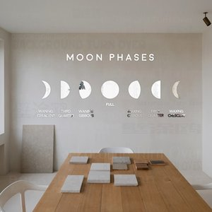 Wholesale mirror moon for sale - Group buy Mirror Wall Stickers Sticker Room Decoration Decor Bedroom Home For House Kids Rooms Soft PET Moon Phases Mural Wallpaper P071 T200827