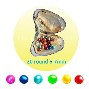 Mini monster freshwater oysters with 20pcs mix color 4A pearls 6-7mm mix 28 colors good quality shipping by DHL fishing license needed