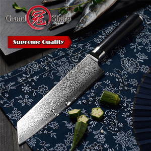 Wholesale razor blade knives for sale - Group buy GRANDSHARP Inch VG10 Damascus Steel Japanese Kitchen Knives G10 Handle Razor Sharp Japanese Damascus Blade Chef Knife with Gift Box
