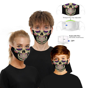 Wholesale scaring masks resale online - Scared Halloween Mask Reusable D Painting Skull Grimace Cotton Face Mask Protective PM2 Carbon Filters Washable Adult Kids Face Mask