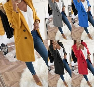 Neck Long Sleeve Single Breasted Womens Long Coats Fashion Female Winter Outerwear Solid Color Designer Womens Coats Lapel