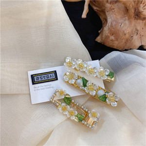 MENGJIQIAO Hot Sale Green Leaf Hairgrips Jewelry Handmade Elegant Pearl Flower Hairpins For Women Gilrs Wedding Accessories