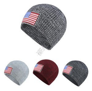 Wholesale ear muffs for adults for sale - Group buy With US Flag Label Knit Hat Winter Warm Beanies Adults Knitted Skull Beanie Cap Outdoor Hats Headgear Ear Muff For Men Women New D92406