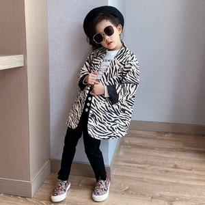 Wholesale girl coats resale online - Kids zebra printed A suit coat fall new children lapel long sleeve blazers outwear lady style girls casual coat A3995
