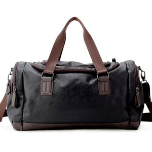 Wholesale mens travel bags resale online - Top Quality Casual Travel Duffel Bag PU Leather Men Handbags Big Large Capacity Travel Bags Black Mens Messenger Bag Tote JXY815