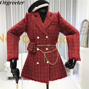 Wholesale double m bags resale online - 2020 New Gold thread Plaid Suit Coat Women Notched Double breasted Feather Tassel Trim Slim Tweed Jacket With Free Belt bag
