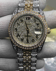 Wholesale man made diamonds for sale - Group buy custom made Men Fashion Watches Arabic Digital Scale Watch Gold Diamond Face Watch Full Diamond Strap Watch Automatic Mechanical Wristwatch