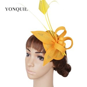 Wholesale yellow womens hats for sale - Group buy Bride Yellow hair fascinator hats with ostrich feather bridal wedding hair accessories event womens hairclips party headwear