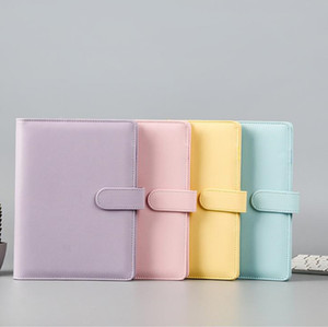 A6 PU Leather Notebook Binder Macaron color 19*13cm Refillable 6 Ring Binder for A6 Filler Paper with Magnetic Buckle Closure can custom DIY