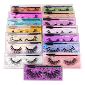 Wholesale curl mix resale online - 3D False Eyelashes with Eyelash brush Mascara brushes Mink Lashes Hot Styles Dramatic Thick Natural Lashes Wispy Fluffy Eye Makeup Tools