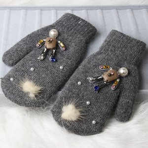 Wholesale gloves doll for sale - Group buy Winter Women Mittens Boutique Leather crystal Doll Knitted Gloves For girl fur full finger Warm Female Mittens