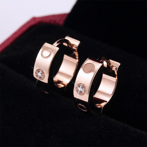Love Earrings women's Ear-Cuff Earring Crystal Rose Gold stud Stainless steel Fashion Jewelry without box
