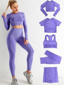 Tracksuits spring summer Gymshark 5Pcs Womens Vital Seamless Yoga Set Workout Sports Wear Gym Clothing Shorts Long Sleeve Crop Top High Waist Leggings align pant