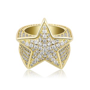 Mens Rings Fashion Exquisite 18K Gold Rhodium Plated Five-point Star Hip Hop Rings Luxury Bling Zircon Cluster Rings