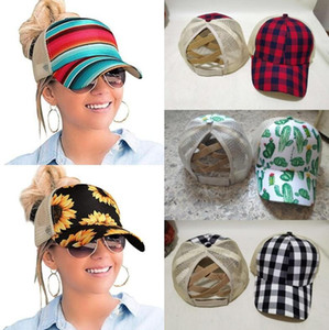 ball 8  großhandel-Sunflower Criss Cross Baseball Cap Styles Sunflower Plaid Cactus Retro Hallow Out Baseball Mütze Hohe Messy Brötchen Trucker Ponycaps OOA8504