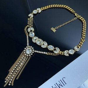 Wholesale blue zircon pendants resale online - D family Dijia wheat ear necklace female style brass pendant Super fairy light luxury high quality zircon necklace jewelry