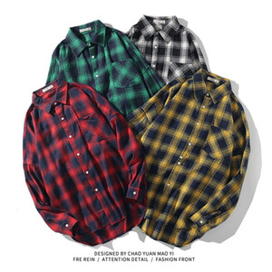 Wholesale collars for shirts resale online - 2020 Spring Autumn Long Sleeves New Flannel Collar Korea STYLE Shirt For Men s Plaid Harajuku Clothing kg