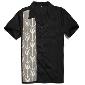 Wholesale arrow panels resale online - Mens Button Shirt Short Sleeve Panel Shirt Black Casual TOP Blouse Arrow Print Shirts camisa masculina