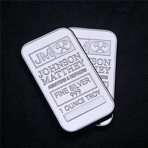American Silver Bar Bank Super JM Johnson Matthey Morgan 1 OZ Silver Plated American Silver Bar No Magnetic Metal Crafts Gift