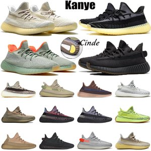 Wholesale boys shoes size 13 resale online - Stock Kanye west X womens mens running shoes size Yecher Abez black Israfil static reflective runners Earth Cloud White trainers sneakers