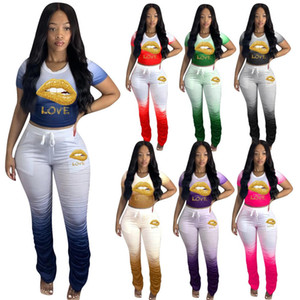 Plus Size S-4XL Women Sweatsuit Lip Print Two Piece Sets Short Sleeve T Shirt+leggings Summer Clothing Outfits Casual Jogger Suit 2020 new