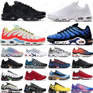 Wholesale lemon yellow resale online - 2020 TN Plus Mens Running Shoes Pink Sea Triple Black White Red Voltage Purple USA Lemon Lime Bumblebee Be True Trainers Sports Sneakers