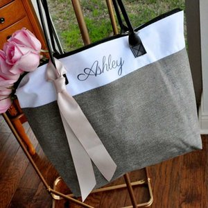 Wholesale designer bags names for sale - Group buy Bridesmaid Tote Personalized Bridesmaid Gift Bags Custom Name Bag Tote Wedding gifts Zipper
