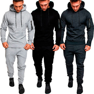 Men Running Set Tracksuit Top Bottom Sport Fitness Sport Gym Suit Trousers Pant String Hat Long Sleeve Hoodie Autumn Spring 2019
