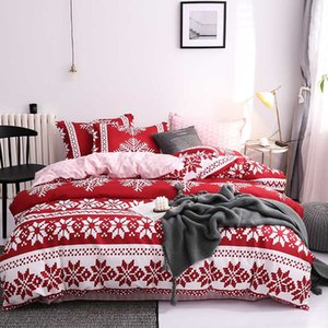 Wholesale bed line for sale - Group buy BEST WENSD Quality Red Bedding Set Snowflake Cotton Bedding Set Christmas Winter Wedding Bed Line Duvet Cover Sets Full Sets bed
