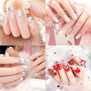 24PCS long Fake Nails Wedding Nail decoration Shiny Rhinestones Glitter Flower Press On False Nails Tips