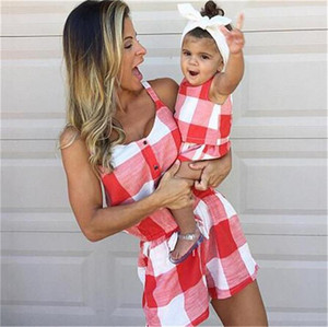 mama mädchen kleidung großhandel-Mama und Mädchen Plaid Overall Shorts Sleeveless Outfits Gitter Sommerkleid Strampler Mode Plaid Sleeveless Jumpsuits Kleidung LY824